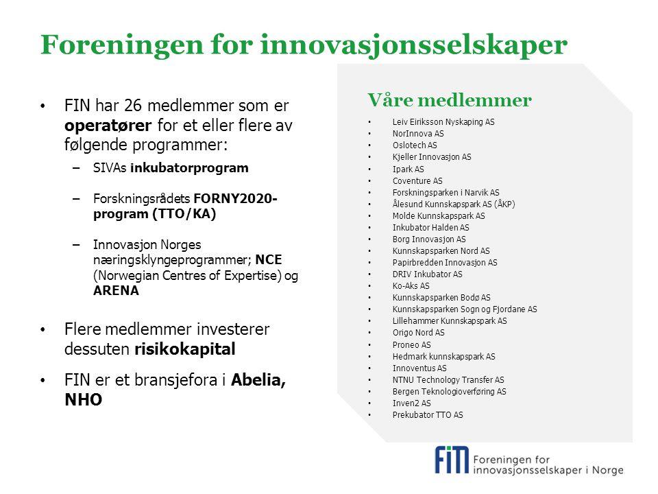 Foreningen for innovasjonsselskaper FIN har 26 medlemmer som er operatører for et eller flere av følgende programmer: –SIVAs inkubatorprogram –Forskningsrådets FORNY2020- program (TTO/KA) –Innovasjon Norges næringsklyngeprogrammer; NCE (Norwegian Centres of Expertise) og ARENA Flere medlemmer investerer dessuten risikokapital FIN er et bransjefora i Abelia, NHO Våre medlemmer Leiv Eiriksson Nyskaping AS NorInnova AS Oslotech AS Kjeller Innovasjon AS Ipark AS Coventure AS Forskningsparken i Narvik AS Ålesund Kunnskapspark AS (ÅKP) Molde Kunnskapspark AS Inkubator Halden AS Borg Innovasjon AS Kunnskapsparken Nord AS Papirbredden Innovasjon AS DRIV Inkubator AS Ko-Aks AS Kunnskapsparken Bodø AS Kunnskapsparken Sogn og Fjordane AS Lillehammer Kunnskapspark AS Origo Nord AS Proneo AS Hedmark kunnskapspark AS Innoventus AS NTNU Technology Transfer AS Bergen Teknologioverføring AS Inven2 AS Prekubator TTO AS