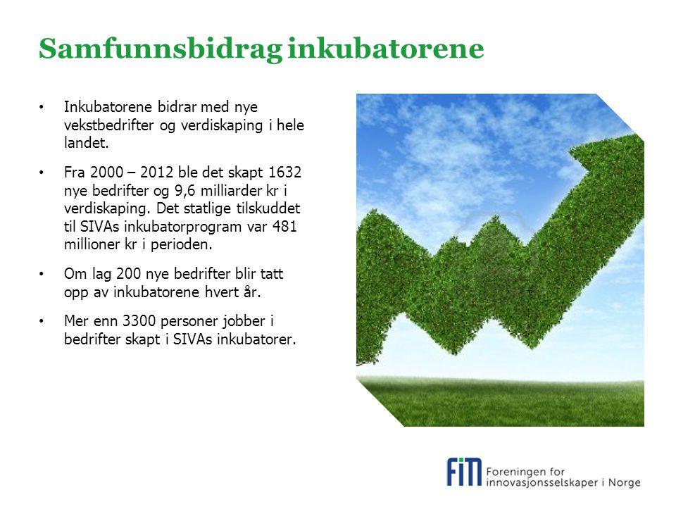 Samfunnsbidrag inkubatorene Inkubatorene bidrar med nye vekstbedrifter og verdiskaping i hele landet.