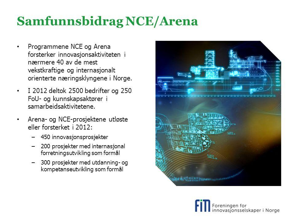 Samfunnsbidrag NCE/Arena Programmene NCE og Arena forsterker innovasjonsaktiviteten i nærmere 40 av de mest vekstkraftige og internasjonalt orienterte næringsklyngene i Norge.