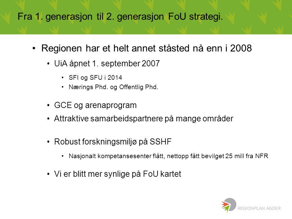 Fra 1. generasjon til 2. generasjon FoU strategi. Regionen har et helt annet ståsted nå enn i 2008 UiA åpnet 1. september 2007 SFI og SFU i 2014 Nærin