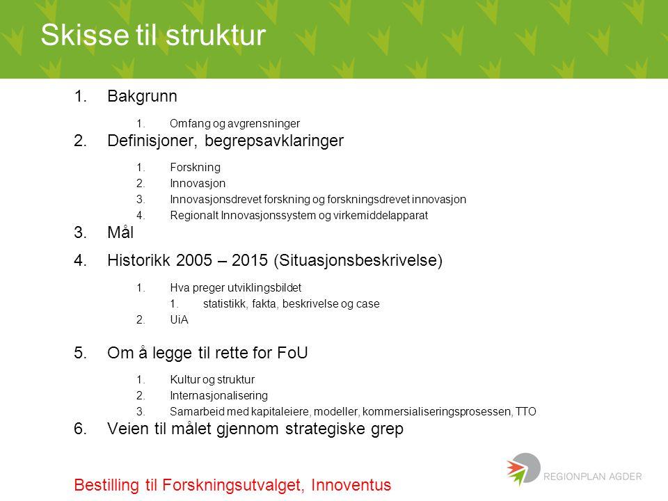Skisse til struktur 1.Bakgrunn 1.Omfang og avgrensninger 2.Definisjoner, begrepsavklaringer 1.Forskning 2.Innovasjon 3.Innovasjonsdrevet forskning og forskningsdrevet innovasjon 4.Regionalt Innovasjonssystem og virkemiddelapparat 3.Mål 4.Historikk 2005 – 2015 (Situasjonsbeskrivelse) 1.Hva preger utviklingsbildet 1.statistikk, fakta, beskrivelse og case 2.UiA 5.Om å legge til rette for FoU 1.Kultur og struktur 2.Internasjonalisering 3.Samarbeid med kapitaleiere, modeller, kommersialiseringsprosessen, TTO 6.Veien til målet gjennom strategiske grep Bestilling til Forskningsutvalget, Innoventus