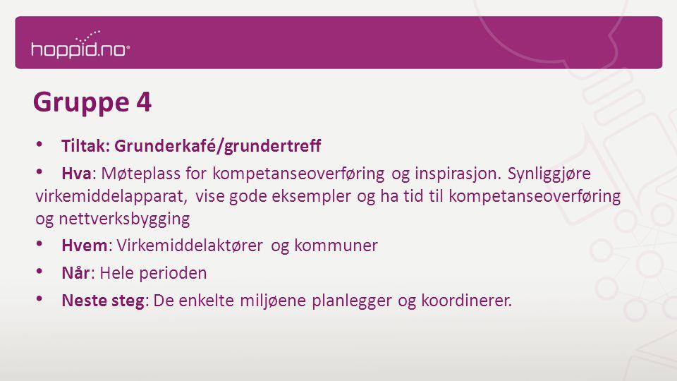 Gruppe 4 Tiltak: Grunderkafé/grundertreff Hva: Møteplass for kompetanseoverføring og inspirasjon.