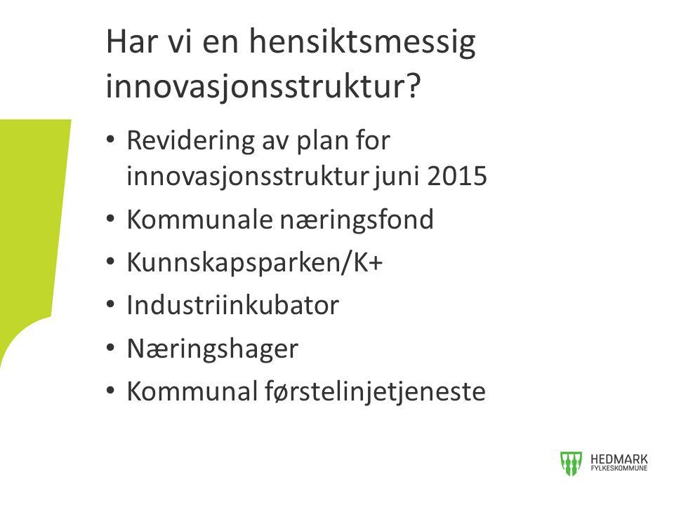 Revidering av plan for innovasjonsstruktur juni 2015 Kommunale næringsfond Kunnskapsparken/K+ Industriinkubator Næringshager Kommunal førstelinjetjeneste Har vi en hensiktsmessig innovasjonsstruktur