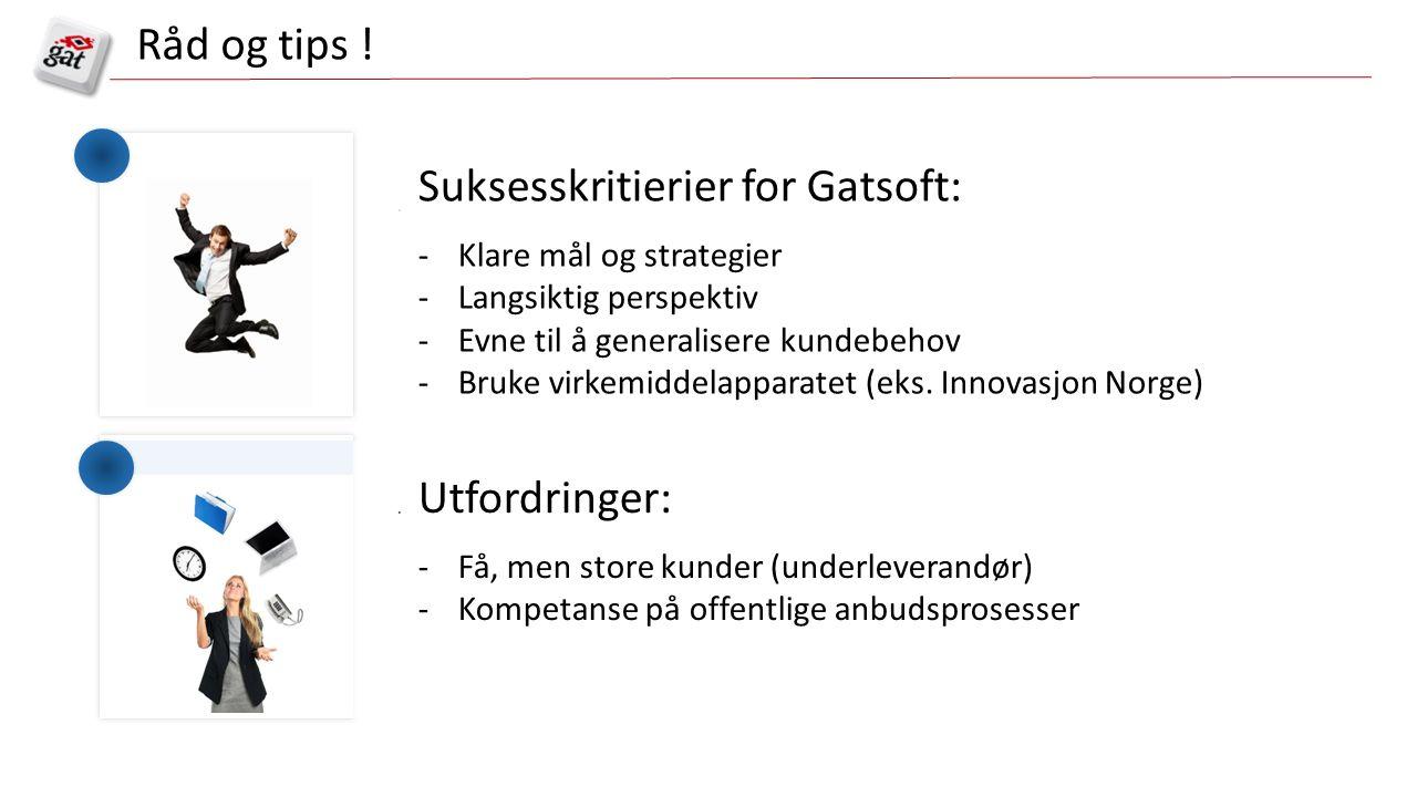 Suksesskritierier for Gatsoft: -Klare mål og strategier -Langsiktig perspektiv -Evne til å generalisere kundebehov -Bruke virkemiddelapparatet (eks.
