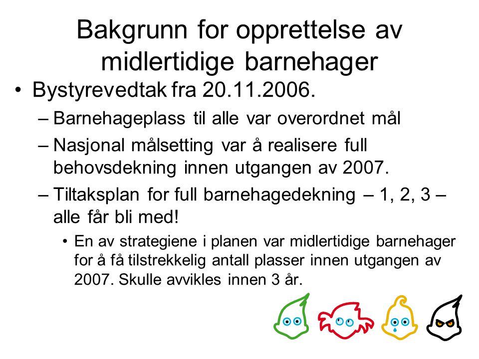 Bakgrunn for opprettelse av midlertidige barnehager Bystyrevedtak fra 20.11.2006.