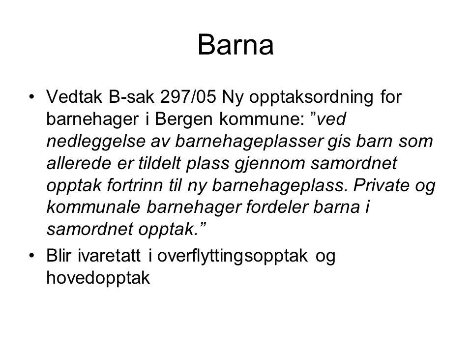 Barna Vedtak B-sak 297/05 Ny opptaksordning for barnehager i Bergen kommune: ved nedleggelse av barnehageplasser gis barn som allerede er tildelt plass gjennom samordnet opptak fortrinn til ny barnehageplass.