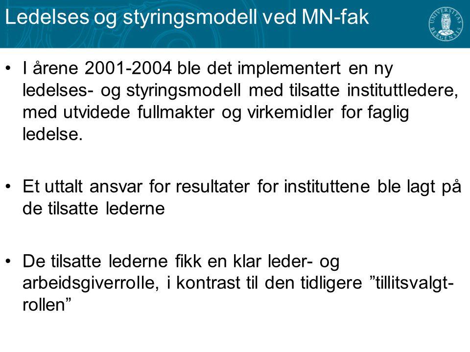 Ledelses og styringsmodell ved MN-fak I årene 2001-2004 ble det implementert en ny ledelses- og styringsmodell med tilsatte instituttledere, med utvid
