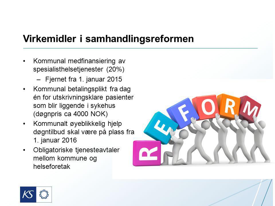Virkemidler i samhandlingsreformen Kommunal medfinansiering av spesialisthelsetjenester (20%) –Fjernet fra 1. januar 2015 Kommunal betalingsplikt fra