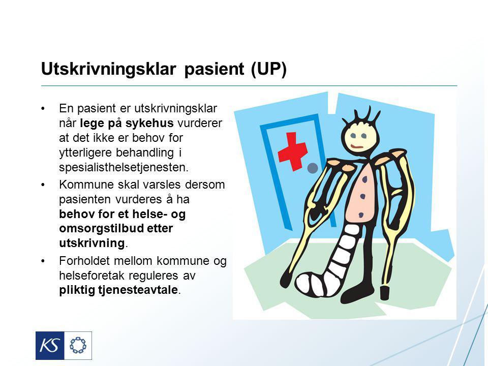 Utskrivningsklar pasient (UP) En pasient er utskrivningsklar når lege på sykehus vurderer at det ikke er behov for ytterligere behandling i spesialisthelsetjenesten.