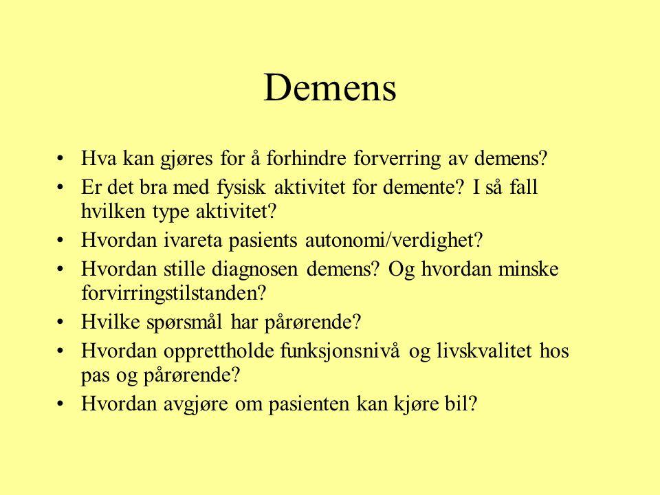 Demens Hva kan gjøres for å forhindre forverring av demens.