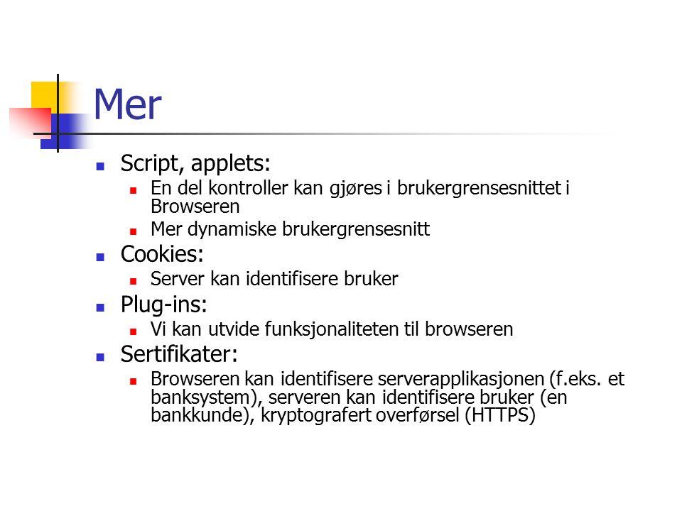 Mer Script, applets: En del kontroller kan gjøres i brukergrensesnittet i Browseren Mer dynamiske brukergrensesnitt Cookies: Server kan identifisere bruker Plug-ins: Vi kan utvide funksjonaliteten til browseren Sertifikater: Browseren kan identifisere serverapplikasjonen (f.eks.
