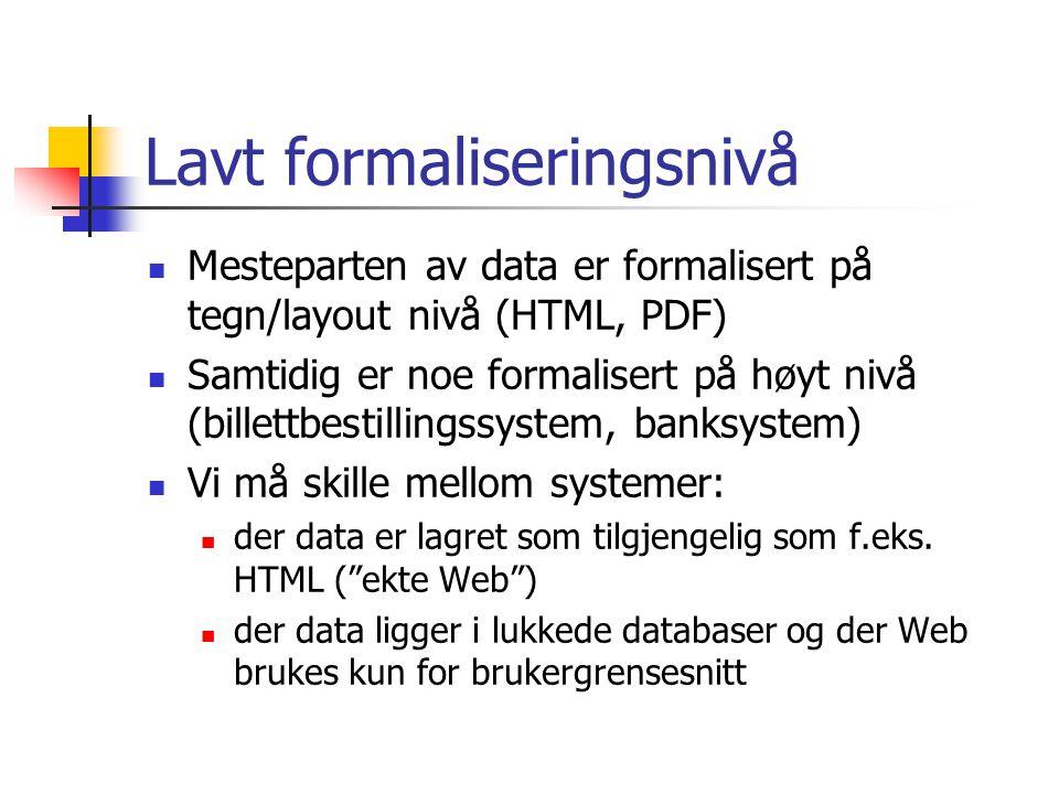 Tilgjengelig/utilgjengelig Mye er tilgjengelig for alle, men ikke alt Mye data er lukket inne bak innloggingsprosedyrer: Banksystemer Bibliografiske databaser Noen avisarkiv m.m.