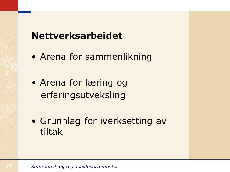 Kommunal- og regionaldepartementet 10 Nettverksarbeidet Arena for sammenlikning Arena for læring og erfaringsutveksling Grunnlag for iverksetting av tiltak
