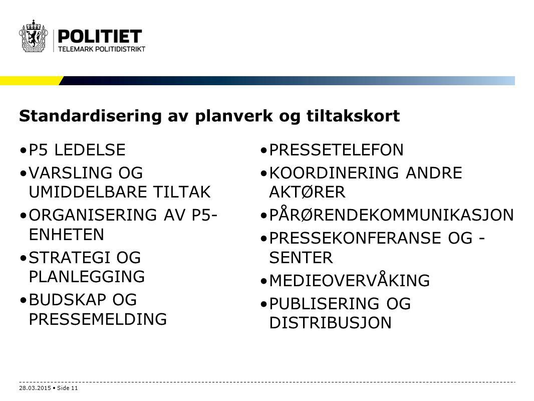 Standardisering av planverk og tiltakskort P5 LEDELSE VARSLING OG UMIDDELBARE TILTAK ORGANISERING AV P5- ENHETEN STRATEGI OG PLANLEGGING BUDSKAP OG PR