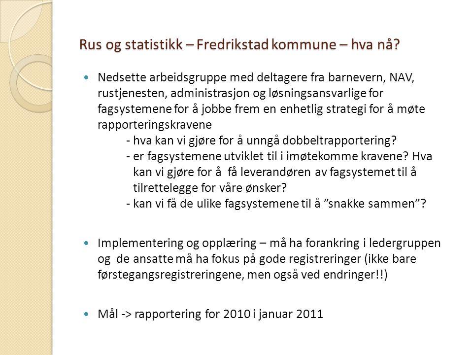 Rus og statistikk – Fredrikstad kommune – hva nå? Nedsette arbeidsgruppe med deltagere fra barnevern, NAV, rustjenesten, administrasjon og løsningsans