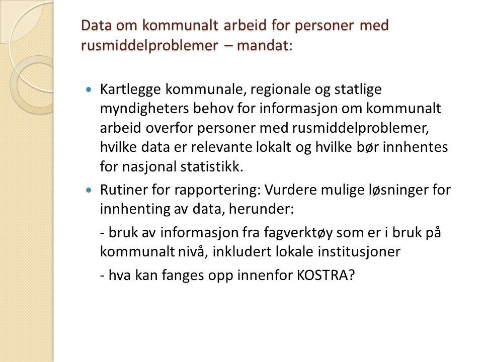 Data om kommunalt arbeid for personer med rusmiddelproblemer – mandat: Kartlegge kommunale, regionale og statlige myndigheters behov for informasjon o