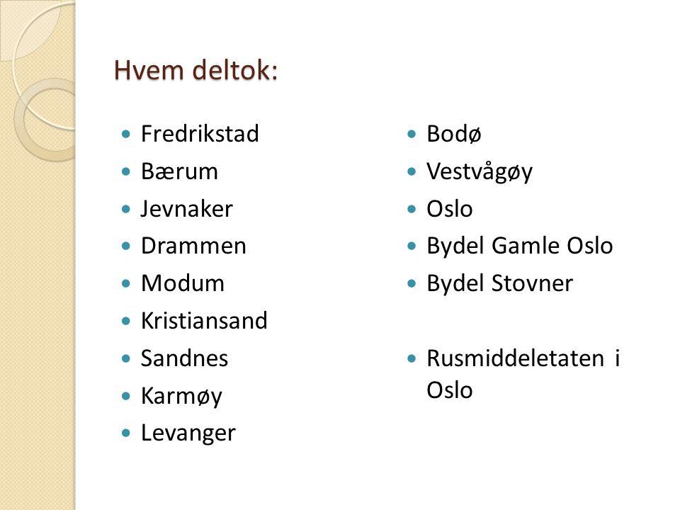 Hvem deltok: Fredrikstad Bærum Jevnaker Drammen Modum Kristiansand Sandnes Karmøy Levanger Bodø Vestvågøy Oslo Bydel Gamle Oslo Bydel Stovner Rusmiddeletaten i Oslo