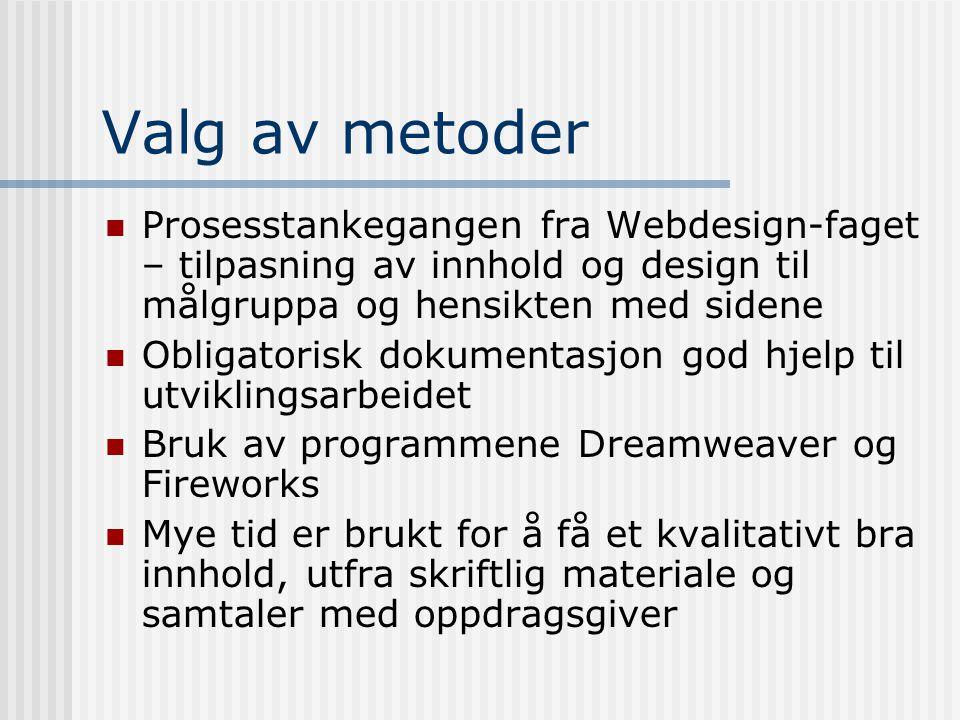 Valg av metoder Prosesstankegangen fra Webdesign-faget – tilpasning av innhold og design til målgruppa og hensikten med sidene Obligatorisk dokumentas