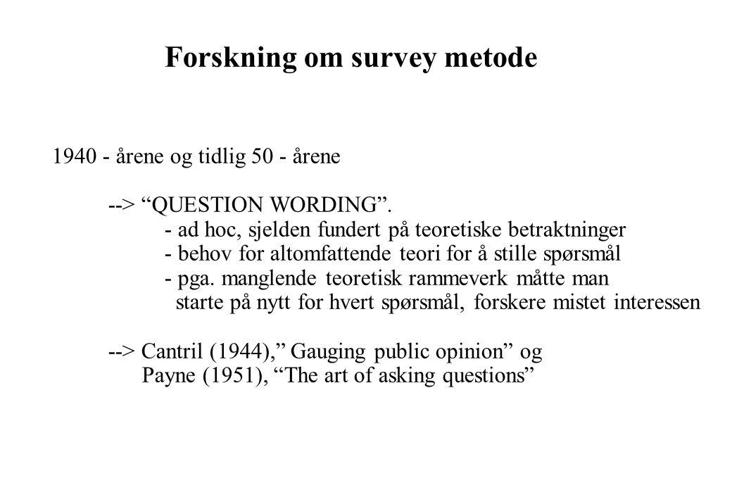 En modell av svargivning i en spørreundersøkelse Produkt/ Tjeneste Bruks erfaring EvalueringRespons Måle- prosedyre handlinger Situasjon Respondent