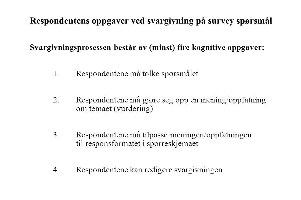 Teoretiske (kognitive) tilnærminger til studier av spørreskjemaeffekter i surveyundersøkelser Et intervju kan oppfattes som en sosial aktivitet som in