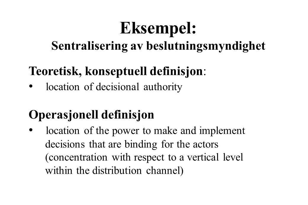 Måleprosessen Teori Teoriplan Empiriplan Teoretiske begreper Teoretiske relasjoner Empiriske variabler Relasjon mellom empiriske varaibler Empiriske d