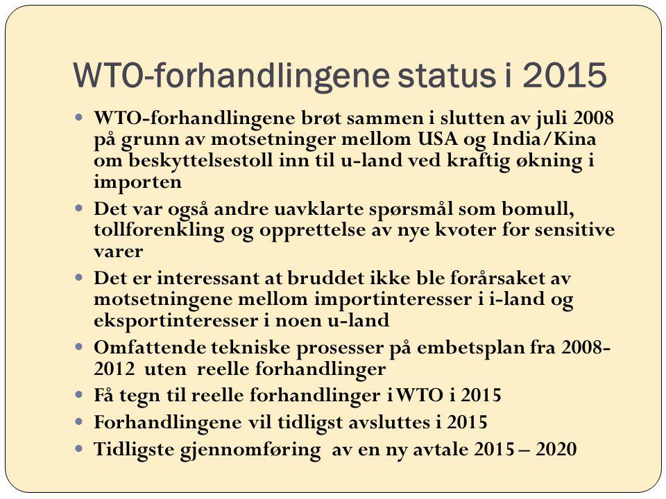 WTO-forhandlingene status i 2015 WTO-forhandlingene brøt sammen i slutten av juli 2008 på grunn av motsetninger mellom USA og India/Kina om beskyttels