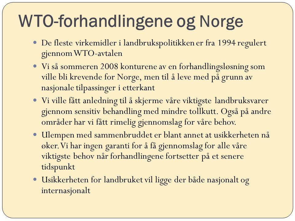 WTO-forhandlingene og Norge De fleste virkemidler i landbrukspolitikken er fra 1994 regulert gjennom WTO-avtalen Vi så sommeren 2008 konturene av en f