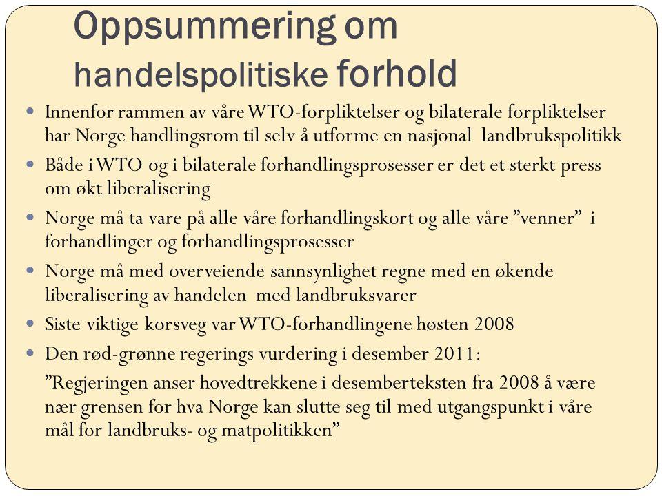 Oppsummering om handelspolitiske forhold Innenfor rammen av våre WTO-forpliktelser og bilaterale forpliktelser har Norge handlingsrom til selv å utfor