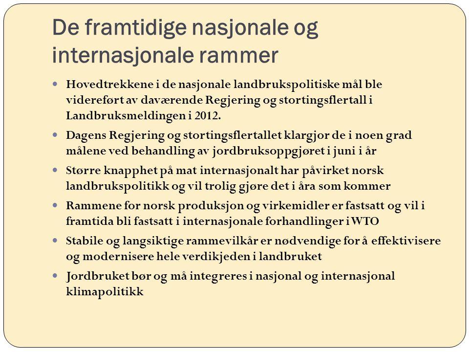 De framtidige nasjonale og internasjonale rammer Hovedtrekkene i de nasjonale landbrukspolitiske mål ble videreført av daværende Regjering og storting