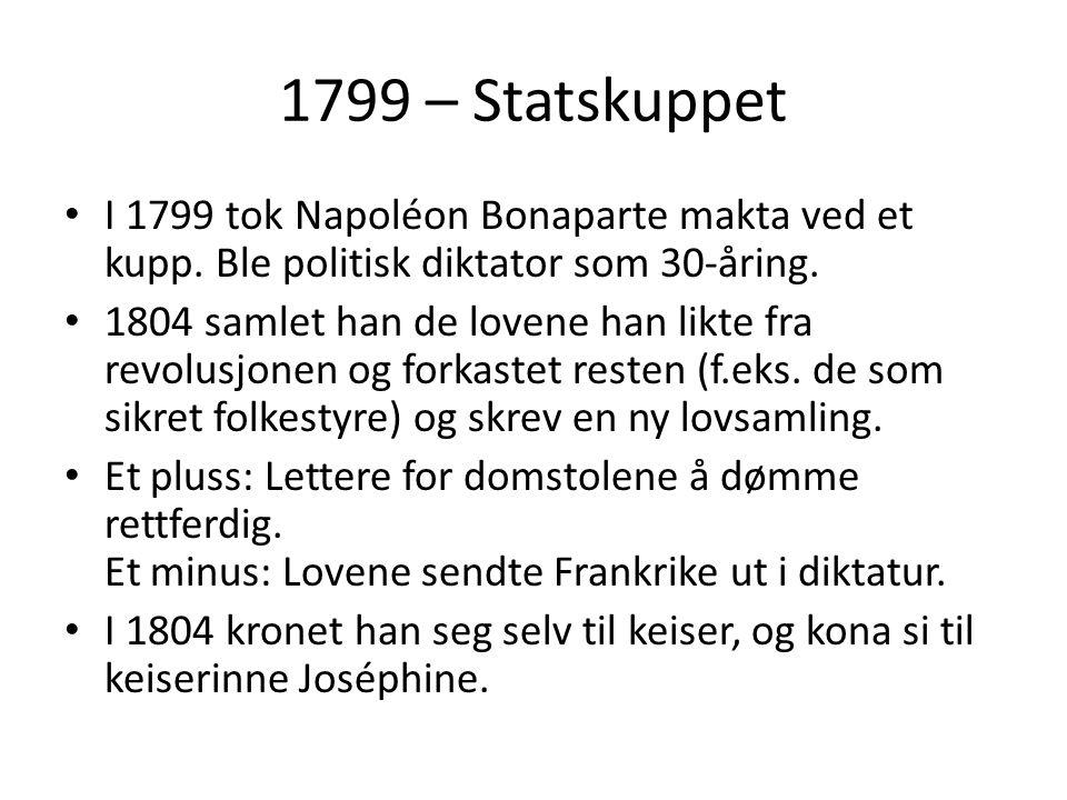1799 – Statskuppet I 1799 tok Napoléon Bonaparte makta ved et kupp.