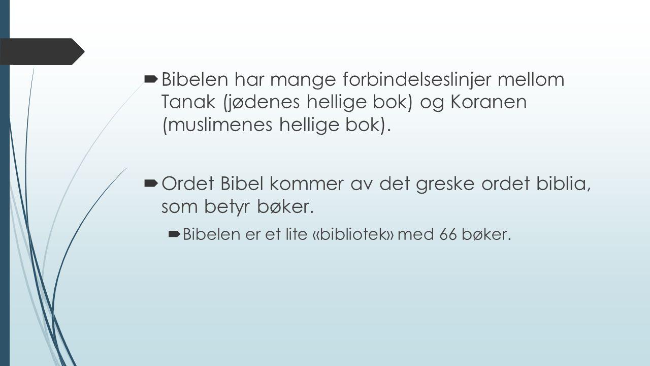  Bibelen har mange forbindelseslinjer mellom Tanak (jødenes hellige bok) og Koranen (muslimenes hellige bok).  Ordet Bibel kommer av det greske orde