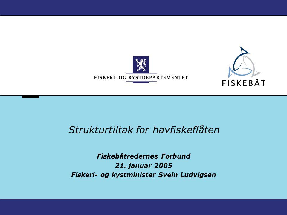 Strukturtiltak for havfiskeflåten Fiskebåtredernes Forbund 21. januar 2005 Fiskeri- og kystminister Svein Ludvigsen