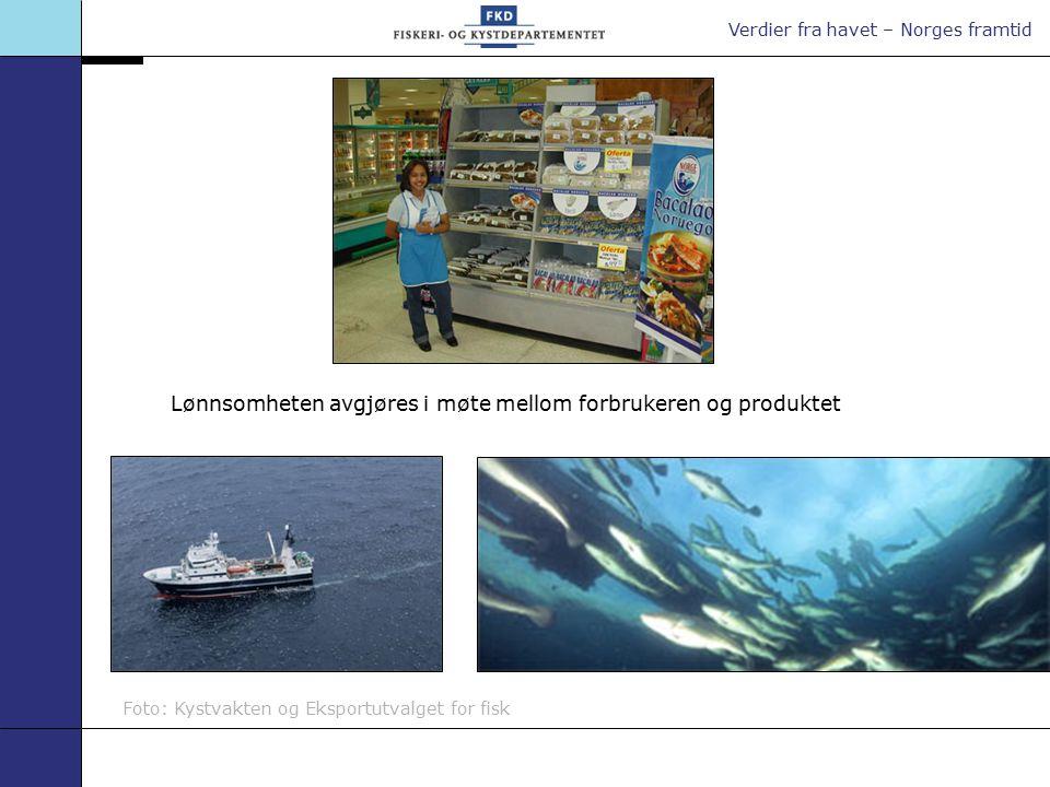 Verdier fra havet – Norges framtid Foto: Kystvakten og Eksportutvalget for fisk Lønnsomheten avgjøres i møte mellom forbrukeren og produktet