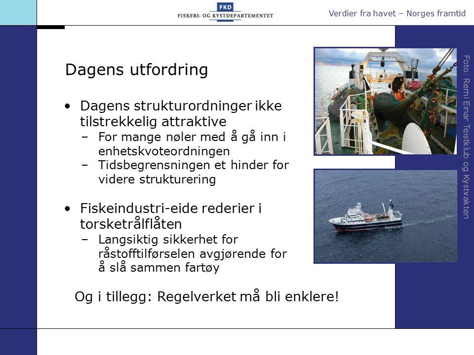 Verdier fra havet – Norges framtid Dagens utfordring Dagens strukturordninger ikke tilstrekkelig attraktive –For mange nøler med å gå inn i enhetskvot