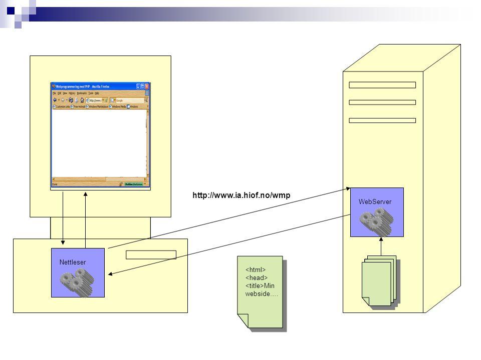 WebServer Min webside…. http://www.ia.hiof.no/wmp Nettleser