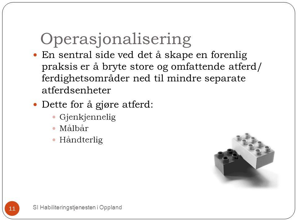 Operasjonalisering SI Habiliteringstjenesten i Oppland 11 En sentral side ved det å skape en forenlig praksis er å bryte store og omfattende atferd/ f