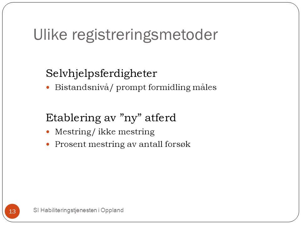 """Ulike registreringsmetoder SI Habiliteringstjenesten i Oppland 13 Selvhjelpsferdigheter Bistandsnivå/ prompt formidling måles Etablering av """"ny"""" atfer"""