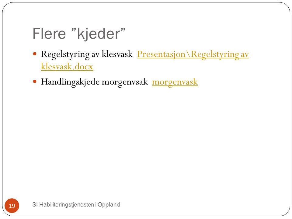 """Flere """"kjeder"""" SI Habiliteringstjenesten i Oppland 19 Regelstyring av klesvask Presentasjon\Regelstyring av klesvask.docxPresentasjon\Regelstyring av"""
