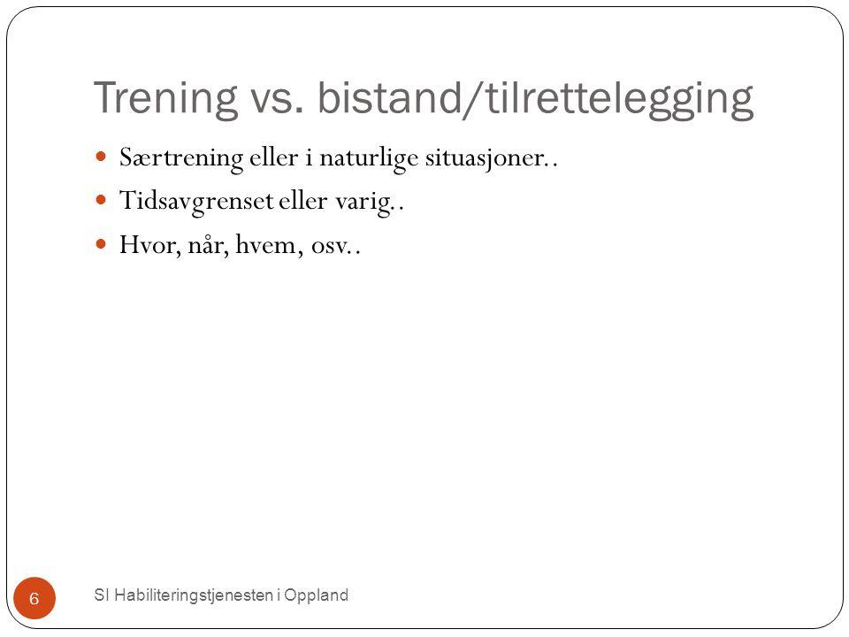 Trening vs. bistand/tilrettelegging SI Habiliteringstjenesten i Oppland 6 Særtrening eller i naturlige situasjoner.. Tidsavgrenset eller varig.. Hvor,