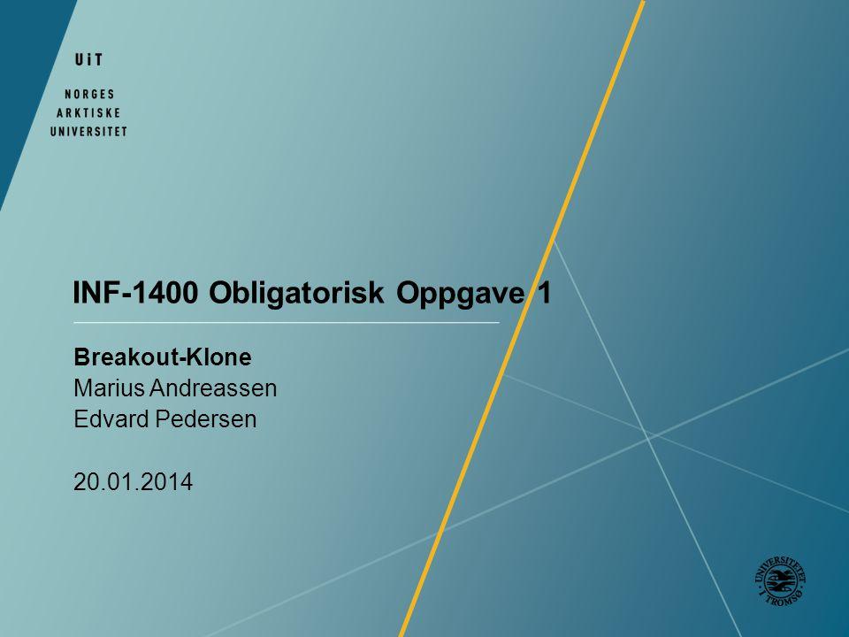 INF-1400 Obligatorisk Oppgave 1 Breakout-Klone Marius Andreassen Edvard Pedersen 20.01.2014