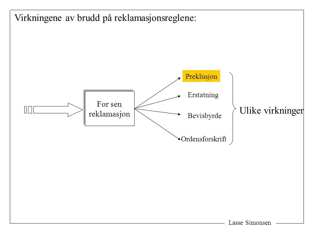 Lasse Simonsen For sen reklamasjon For sen reklamasjon Virkningene av brudd på reklamasjonsreglene: Ulike virkninger Preklusjon Erstatning Bevisbyrde