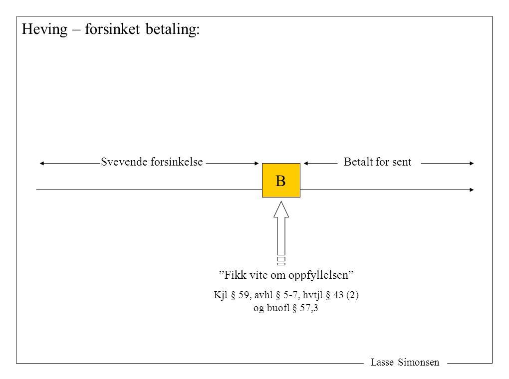 """Lasse Simonsen Heving – forsinket betaling: B Svevende forsinkelseBetalt for sent """"Fikk vite om oppfyllelsen"""" Kjl § 59, avhl § 5-7, hvtjl § 43 (2) og"""