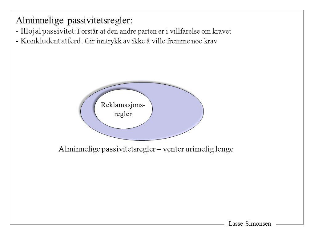 Lasse Simonsen Reklamasjons- regler Reklamasjons- regler Alminnelige passivitetsregler – venter urimelig lenge Alminnelige passivitetsregler: - Illoja