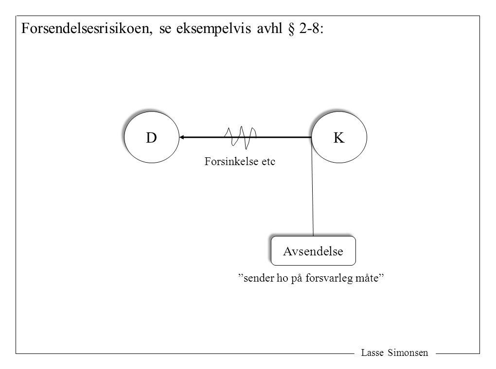 """Lasse Simonsen Forsendelsesrisikoen, se eksempelvis avhl § 2-8: D D K K Forsinkelse etc Avsendelse """"sender ho på forsvarleg måte"""""""