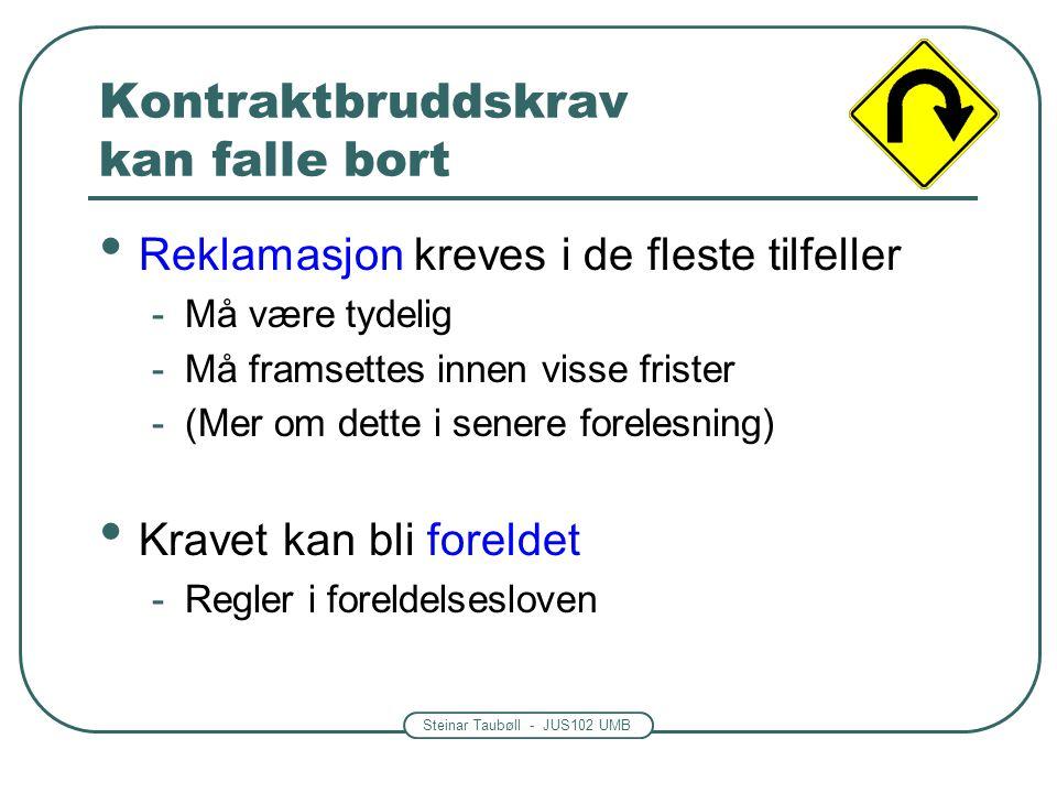 Steinar Taubøll - JUS102 UMB Kontraktbruddskrav kan falle bort Reklamasjon kreves i de fleste tilfeller -Må være tydelig -Må framsettes innen visse fr