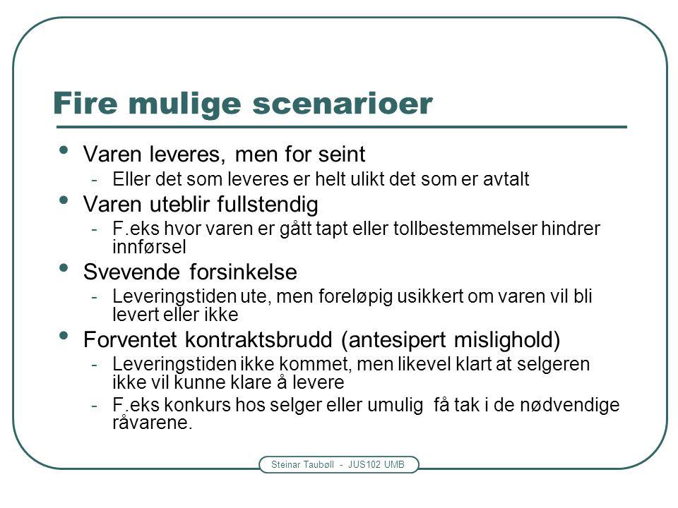 Steinar Taubøll - JUS102 UMB Fire mulige scenarioer Varen leveres, men for seint -Eller det som leveres er helt ulikt det som er avtalt Varen uteblir