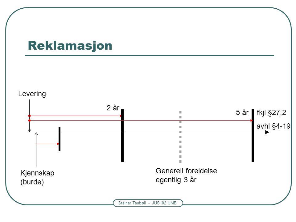Steinar Taubøll - JUS102 UMB Reklamasjon 2 år Levering Kjennskap (burde) Generell foreldelse egentlig 3 år 5 år fkjl §27,2 avhl §4-19