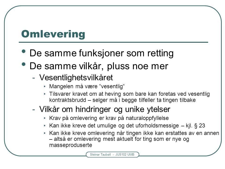 """Steinar Taubøll - JUS102 UMB Omlevering De samme funksjoner som retting De samme vilkår, pluss noe mer -Vesentlighetsvilkåret Mangelen må være """"vesent"""