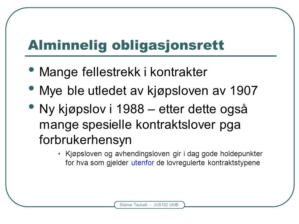 Steinar Taubøll - JUS102 UMB Alminnelig obligasjonsrett Mange fellestrekk i kontrakter Mye ble utledet av kjøpsloven av 1907 Ny kjøpslov i 1988 – ette