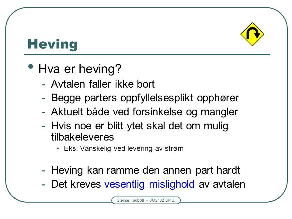 Steinar Taubøll - JUS102 UMB Heving Hva er heving? -Avtalen faller ikke bort -Begge parters oppfyllelsesplikt opphører -Aktuelt både ved forsinkelse o